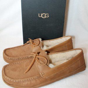 NEW UGG BYRON LEATHER SHEARLING CHESTNUT SLIPPERS